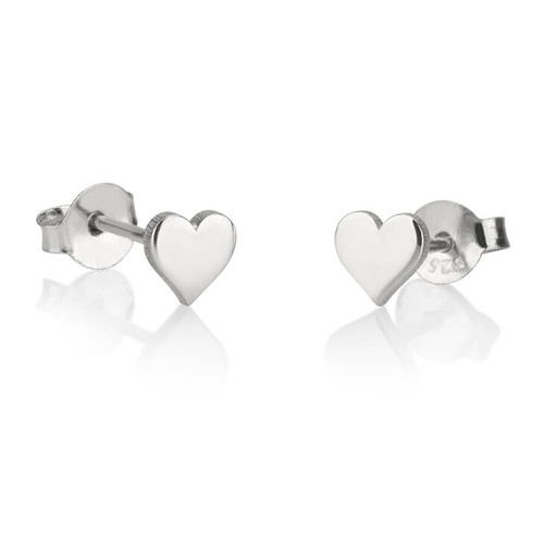 silver heart stud earrings engraved with their initial