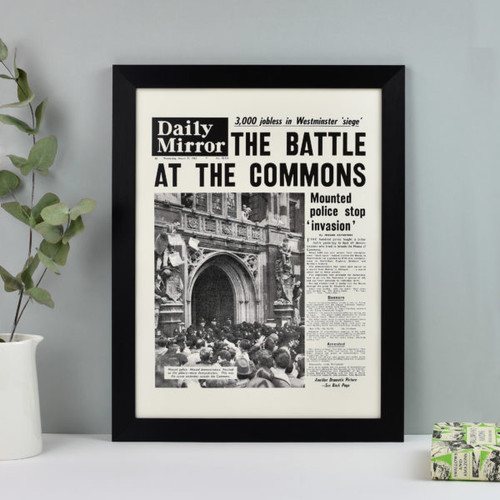 Framed front cover of the newspaper from your Wedding Day