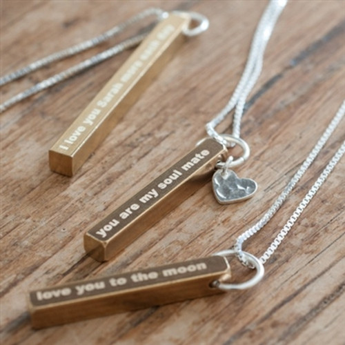Romantic Brass Bar Necklace engraved with your own message