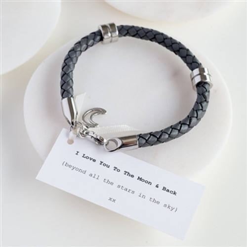 Love You To The Moon & Back Leather Bracelet