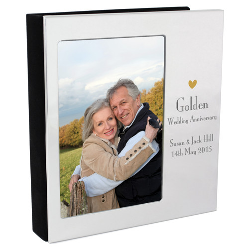 Personalised Golden Anniversary Photo Frame and Album