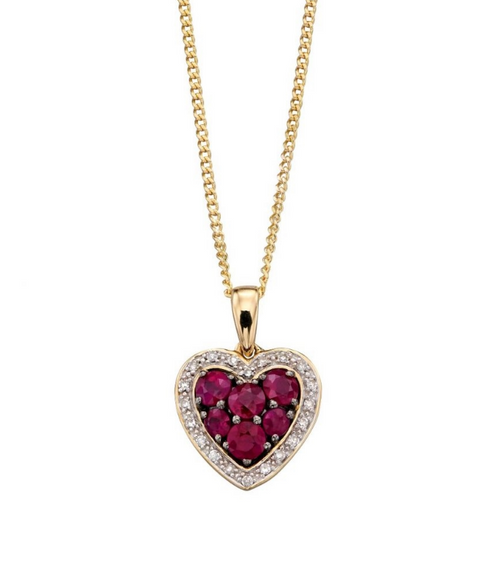 Ruby and Diamond Heart necklace with personalised gift box