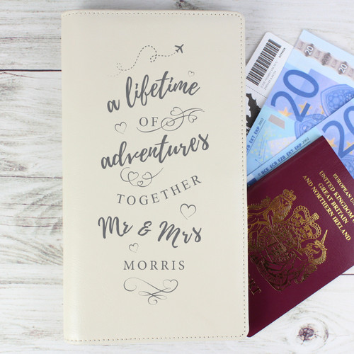 Personalised Mr and Mrs Leather Travel Wallet