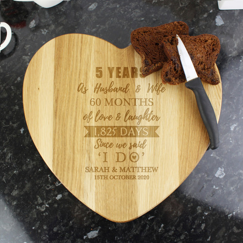 Personalised 5th Anniversary Cheese Board
