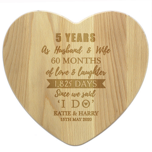 5th Anniversary Personalised Wooden Cheese Board