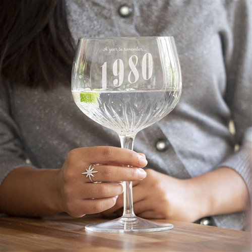 Personalised Anniversary Year Crystal Gin Glass