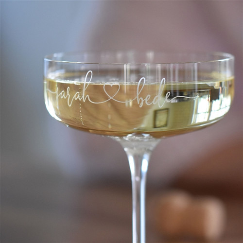 Couple's personalised Champagne Coupe Glass