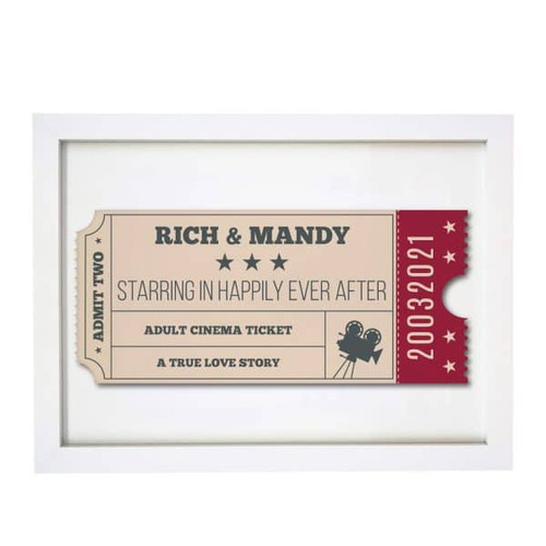 Couple's Personalised Cinema ticket in a white wooden frame