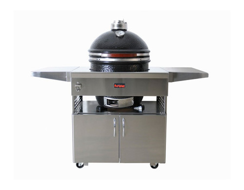 Kamado Grill with Stainless Steel Cart