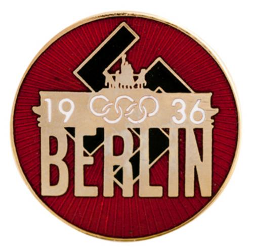 1936 Nazi Berlin Germany Enameled Olympics Pin - Front