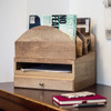 Stackable Wooden Desk Organizer Kit with Step-Up File, Drawer, & Tray - On Desk