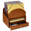 Stackable Wooden Desk Organizer Kit with Step-Up File, Drawer, & Tray