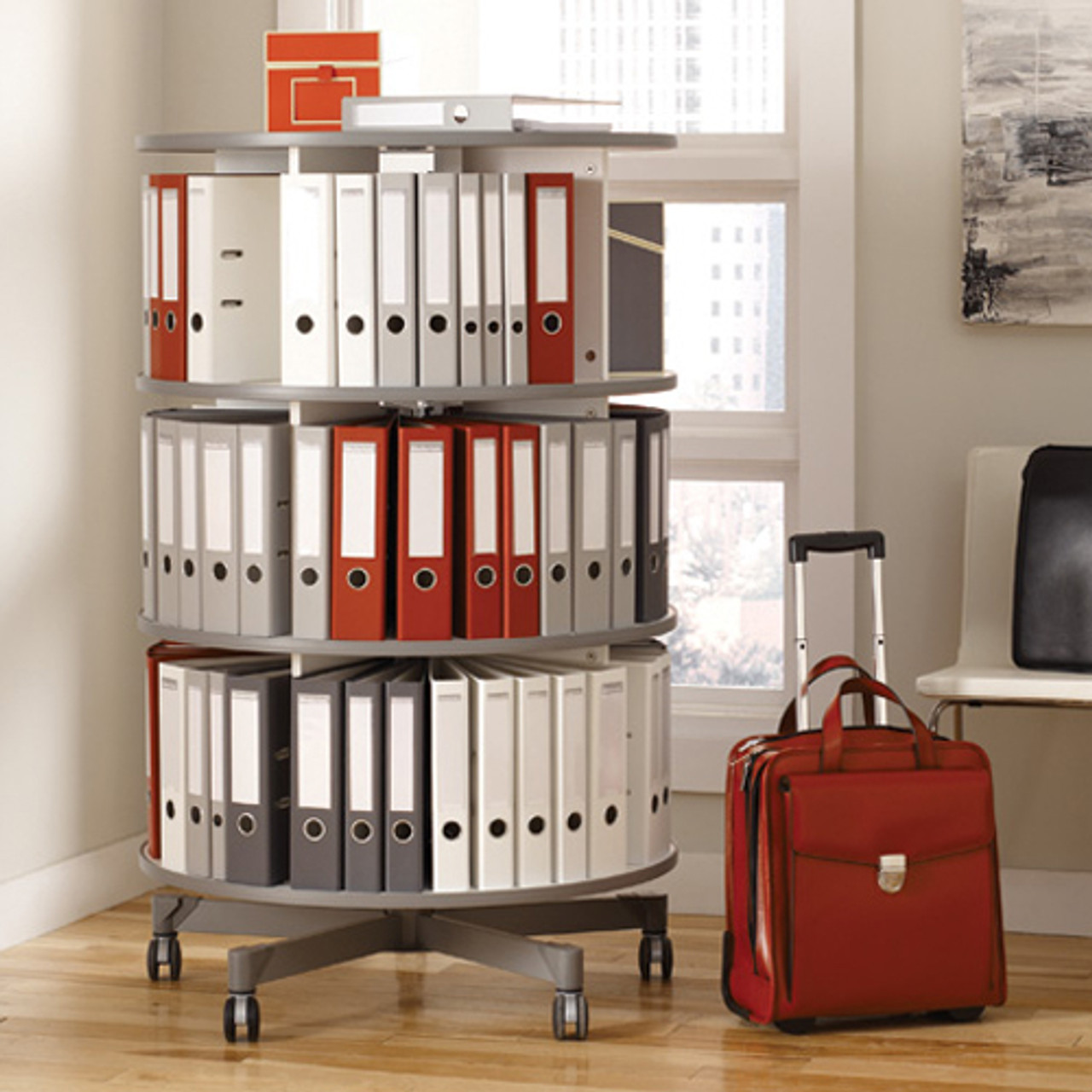 Moll One Turn Binder & File Carousel, 5-Tier Shelving