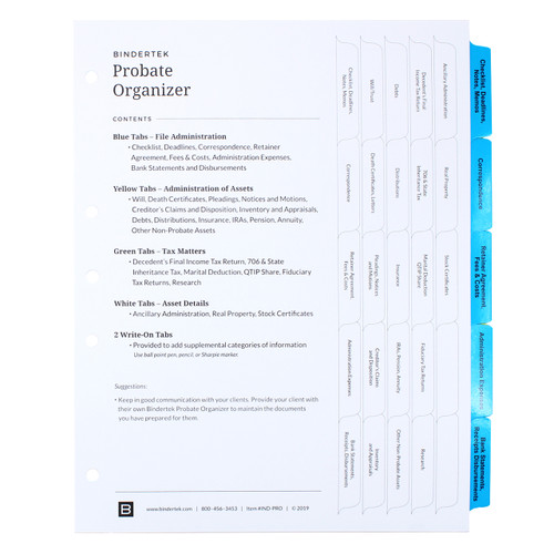 Probate Index Tab Dividers - Cover Sheet