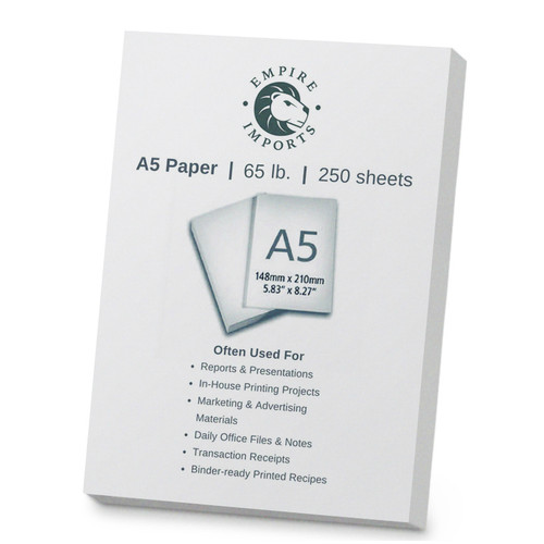 Empire Imports 65 lb. Heavy-Duty Cardstock, A5 Size, 1 Ream, 250 Sheets