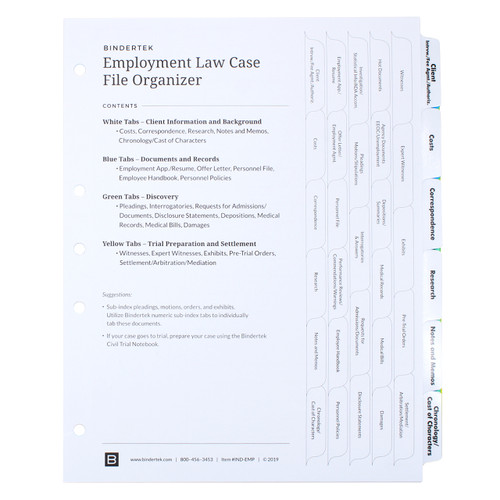 Employment Law Index Tab Dividers - Cover Sheet