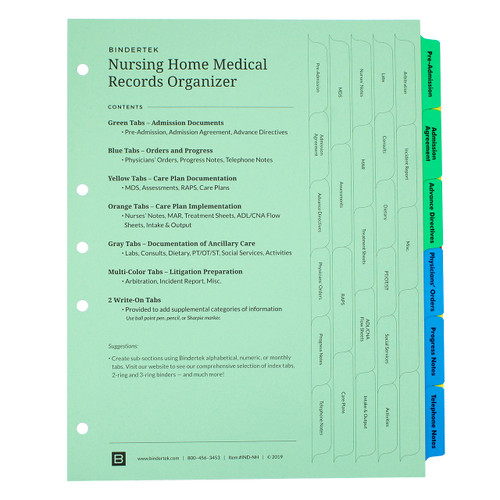 Nursing Home Medical Records Index Tab Dividers - Cover Sheet