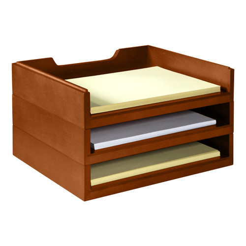 Stackable Wooden Desk Organizer Kit with 3 Trays