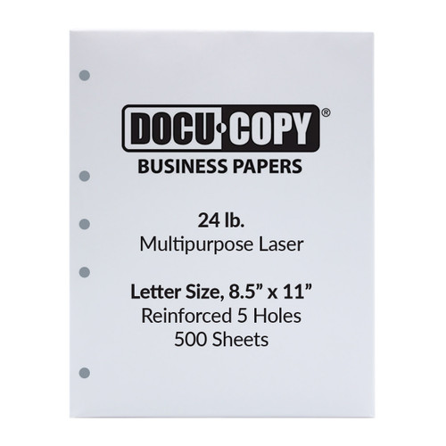 DocuCopy 24 lb. 5-Hole Punched Paper, Letter Size, 1 Ream, 500 Sheets