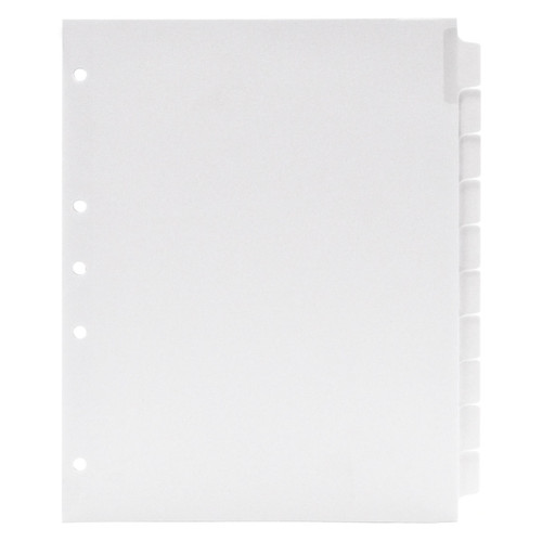 Blank Write-On Index Tab Dividers, 10-Tab Set