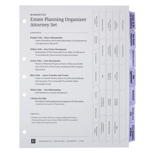 Estate Planning Index Tab Dividers for Attorney Use - Cover Sheet