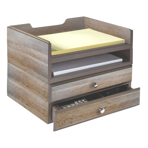 Stackable Wooden Desk Organizer Kit with 2 Drawers & 2 Trays