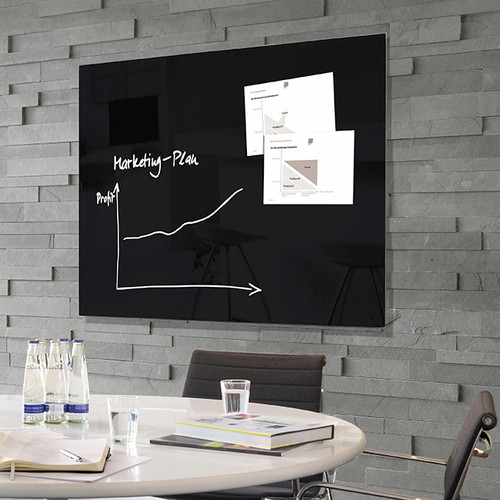 "Sigel Contemporary Magnetic Glass Board, 47"" x 35"""
