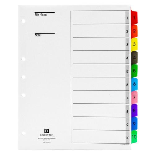 Multicolor Numeric Index Tab Dividers, 1-10 Tab Set