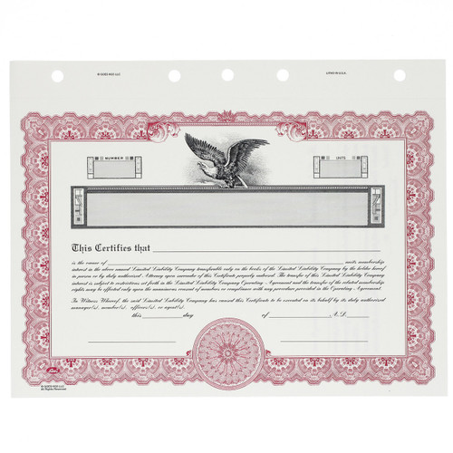 Customizable LLC Stock Certificates, front