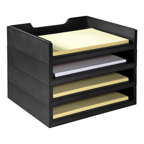 Stackable Wooden Desk Organizer Kit with 4 Letter Trays