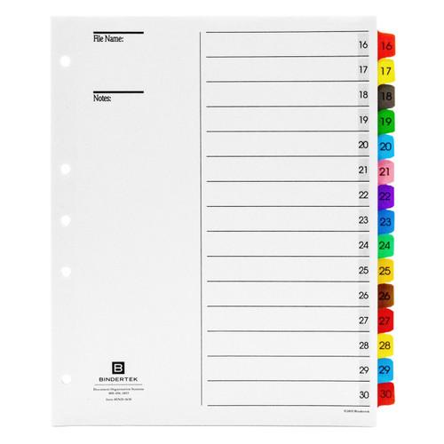 Multicolor Numeric Index Tab Dividers, 16-30 Tab Set