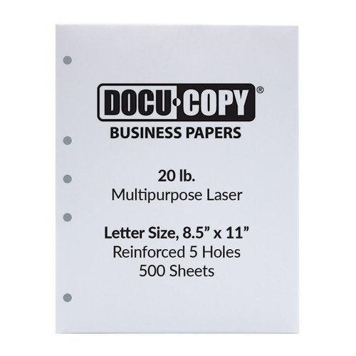 DocuCopy 20 lb. 5-Hole Punched Paper, Letter Size, 1 Ream, 500 Sheets