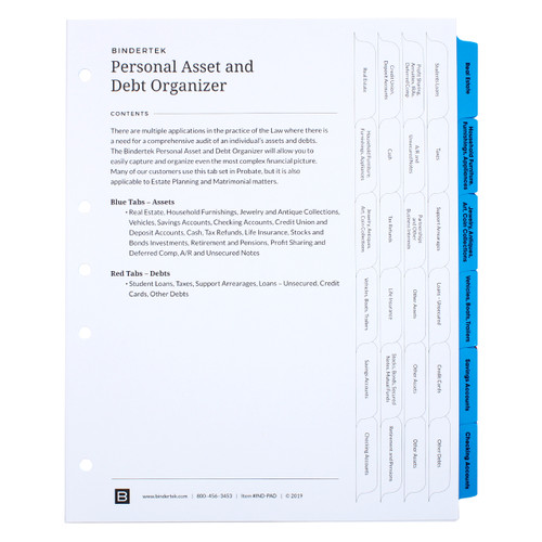 Asset and Debt Index Tab Dividers - Cover Sheet