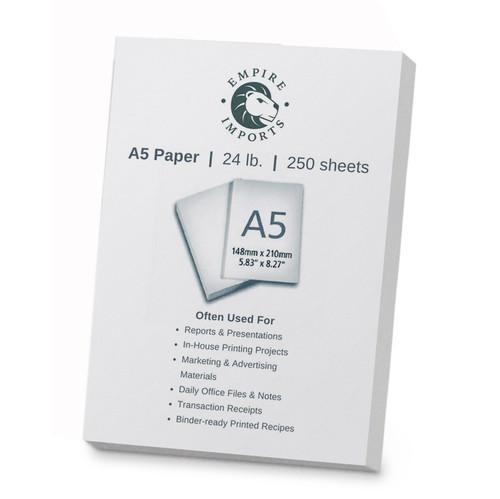 Empire Imports 24 lb. Multi-Purpose Paper, A5 Size, 1 Ream, 250 Sheets