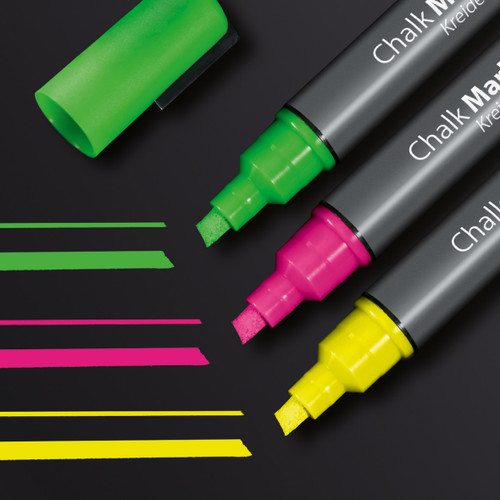 Sigel Multi-Colored Chalk Markers for Magnetic Glass Boards, 3-Pack