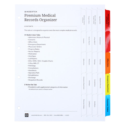 Premium Medical Records Index Tab Dividers, 20-Tab Set - Cover Sheet