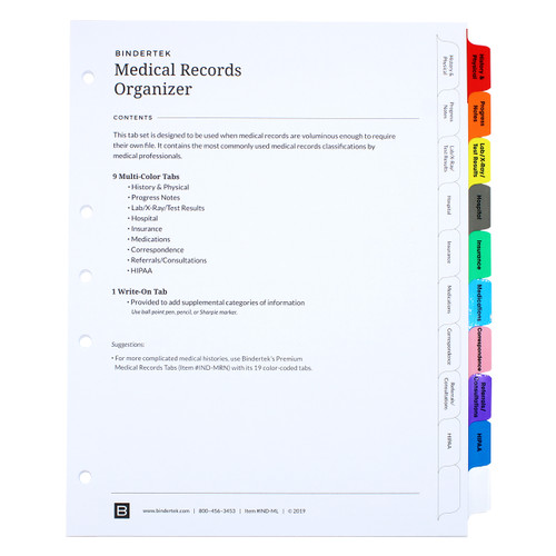 Medical Records Index Tab Dividers, 10-Tab Set - Cover Sheet