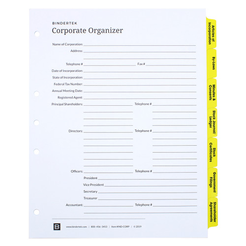 Corporate Index Tab Dividers - Cover Sheet