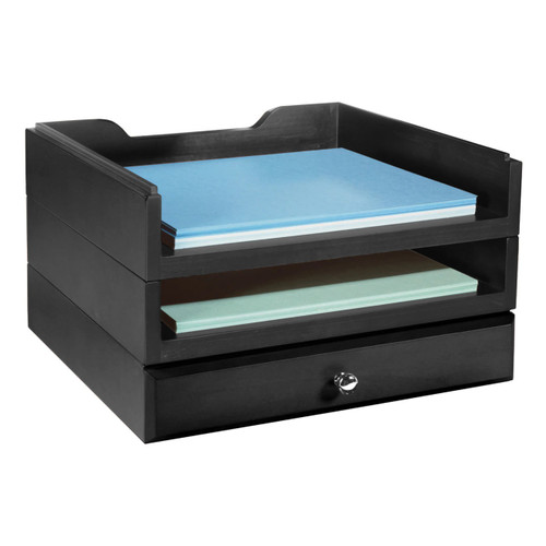 Stackable Wooden Desk Organizer Kit with Drawer & 2 Trays