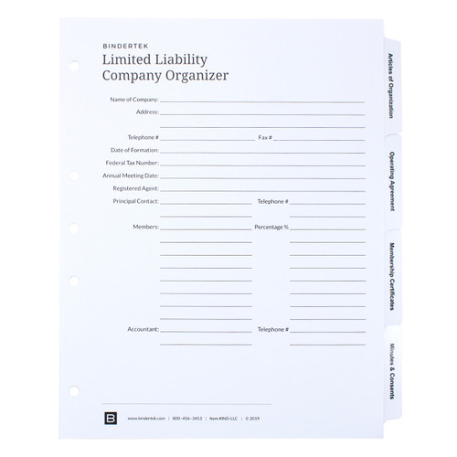LLC Index Tab Dividers - Cover Sheet