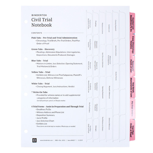Civil Trial Index Tab Dividers