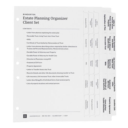 Estate Planning Index Tab Dividers for Clients and Personal Use, Main Product Photo