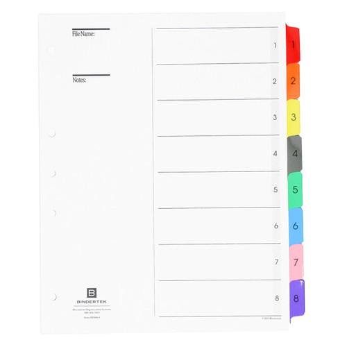 Multicolor Numeric Index Tab Dividers, 1-8 Tab Set