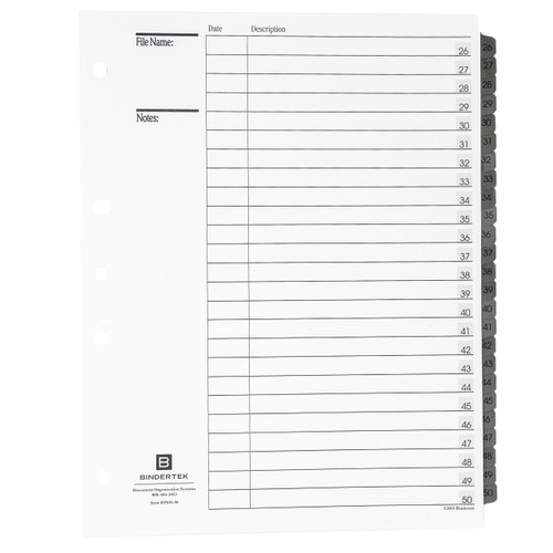 Numeric Index Tab Dividers, 26-50 Tab Set, Main Product Photo