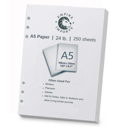 Empire Imports 6-Hole Punched Paper, A5 Size, 1 Ream, 250 Sheets