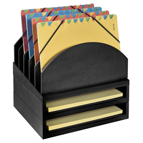 Stackable Wooden Desk Organizer Kit with Step-Up File & 2 Trays