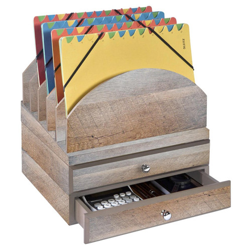 Stackable Wooden Desk Organizer Kit with Step-Up File & 2 Drawers