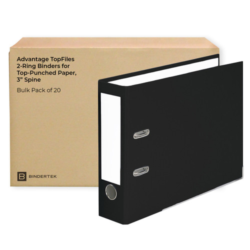 """Advantage TopFiles 2-Ring Binders for Top-Punched Paper, 3"""" Spine, Bulk Pack of 20"""