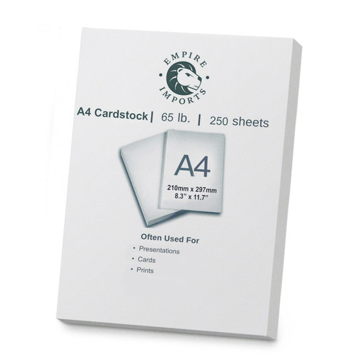 Empire Imports 65 lb. Heavy-Duty Cardstock, A4 Size, 1 Ream, 250 Sheets
