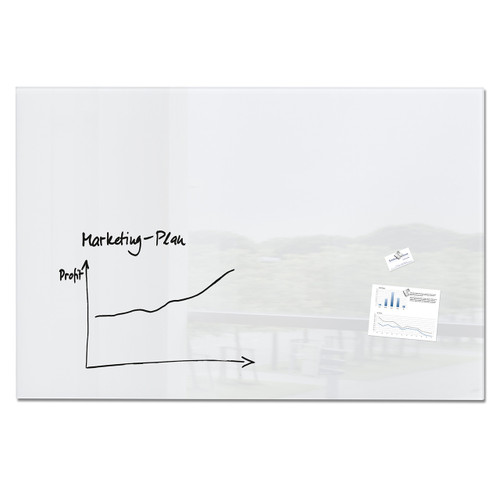 "Sigel Contemporary Magnetic Glass Board, 59"" x 39"""